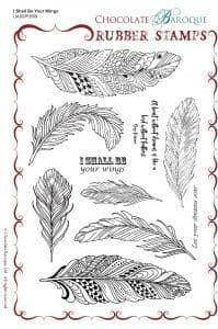 Chocolate Baroque I shall be your wings (feathers)  Rubber Stamp